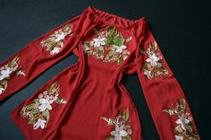 Red chiffon blouse embroidered ukrainian shirt with lilies Red Chiffon, Embroidered Blouse, Lilies, Bomber Jacket, Boho, Jackets, Shirts, Etsy, Clothes