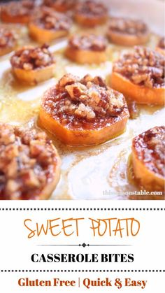 Sweet Potato Casserole Bites Get the taste of homemade sweet potato casserole in bite sized sweet potato slices with a pecan praline topping. The perfect Thanksgiving appetizer! Sweet Potatoe Bites, Sweet Potato Slices, Sweet Potato Pecan, Potato Bites, Sweet Potato Casserole, Sweet Potato With Pecans, Potato Appetizers, Appetizer Recipes, Potluck Appetizers