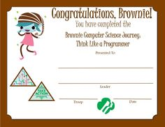 Brownie Girl Scouts, Computer Science, Certificate, Congratulations, Journey, The Journey