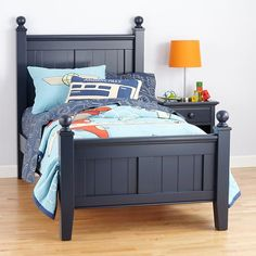 The Land of Nod | Kids' Beds: Kids Dark Blue Painted Walden Beadboard Bed in Beds  $679.15 - $763.15