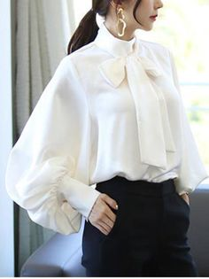 NEW Womens Elegant Satin Lantern Sleeve Shirt Bow Tie Neck Loose Vintage Blouses Bishop Sleeve, Beautiful Blouses, Look Chic, Blouse Vintage, Shirt Sleeves, Puffy Sleeves Blouse, Chiffon Tops, Blouses For Women, Fashion Dresses