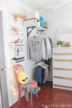 My Daughter's Room: Pre-Teen Bedroom Refresh Reveal Open Closet Ikea