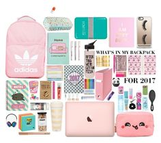 """BACKPACK"" by kajagodvik on Polyvore featuring Pusheen, Degree, Anya Hindmarch, Miss Selfridge, adidas, Bliss, Victoria's Secret PINK, Kate Spade, Nicolas Vahé and Valfré"