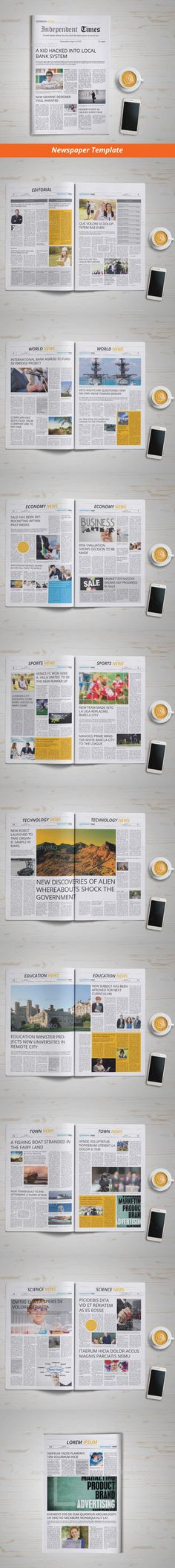 Newspaper Template 18 Pages InDesign INDD #design Download: http://graphicriver.net/item/newspaper-template-18-pages/13563800?ref=ksioks