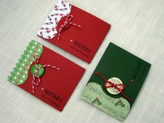 Handmade Christmas Gifts | Handmade Christmas Gift Card Holders - Set of 3 - Holiday Red & Green
