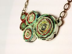 Upcycled Magazine Paper Chunky Necklace by SweetheartsandCrafts