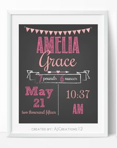 Baby Stats Chalkboard Print - Baby Birth Print- Baby Decor - Birth Announcement Nursery Art - Personalized New Baby Gift - Baby Keepsake by AJCreations12 on Etsy