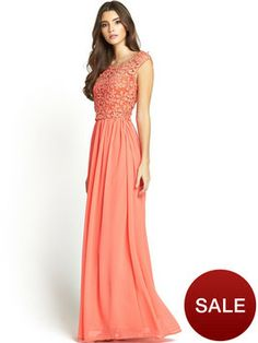 Great for a garden or beach wedding. A little more formal in length but a gorgeous coral for dark hair :) Club L Crochet 2-in-1 Maxi Dress | very.co.uk