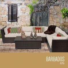 Barbados Collection - Outdoor Wicker Patio Furniture Set 07b / 7 Piece / Beige