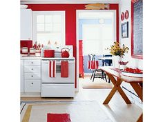 red-walls-white-kitchen-cabinets - Home and Garden Design Idea's
