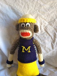 Crocheted Sock Monkey with Michigan by SockMonkeyMountain on Etsy