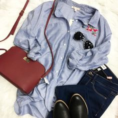 EMBROIDERED florals --Are Just as SWEET 🌹Looks we love for a fresh look •Front Tie T ($49) •Skinny Denim ($47) •Handbag •Aviators ($12) . . 🍃For immediate assistance or to ORDER call☎️701-356-5080 (We Ship📦& Hold)