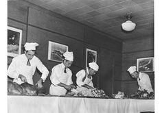 Men carving turkeys for Thanksgiving dinner at USO club, 1944