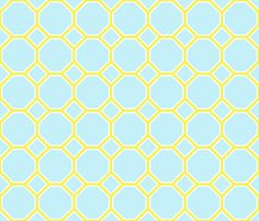 turquoise yellow octagon fabric by domesticate on Spoonflower - custom fabric