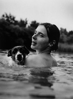 Isabella Rossellini and dog.