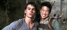 bts with the maze runner - thomas and minho being adorable