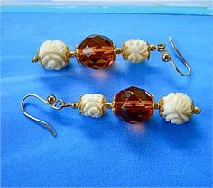 Double  ivory  flowers  and  topaz  colored  glass  earrings | BellaWorxJewelry - Jewelry on ArtFire