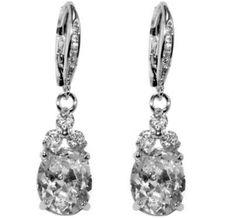 Amanda Oval Drop Dangle Earrings | 2.5ct | Cubic Zirconia | Silver