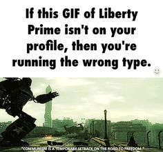 Liberty Prime. Need to play this game again. Can we get it remastered for the PS4? And Oblivion? Why'd you do a game that came out like 5 years ago? Seriously. I waited till skyrim se was cheaper. But I'd pay full price for fallout 3 or oblivion. I'd preorder the shit out of those.