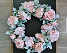 Peony & Lamb's Ear Wreath. Year Round Wreath. Spring Wreath. Summer Wreath. Door Wreath. Burlap Wreath. Artificial Wreath.