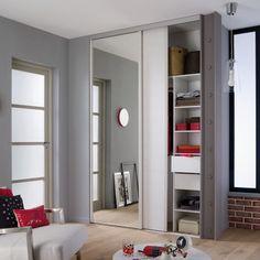 1 porte de placard coulissante miroir 62 2 x 245 6 cm valla castorama porte placard. Black Bedroom Furniture Sets. Home Design Ideas