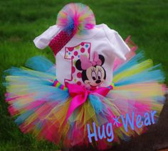 Custom Birthday Baby Minnie Mouse Face Shirt + Tutu Outfit (hot-pink/turq/lime-green colors) any age Minnie Birthday, Birthday Tutu, Minnie Mouse Party, Mouse Parties, 2nd Birthday Parties, Birthday Ideas, Birthday Outfits, Birthday Pictures, Tutu Outfits