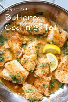 Easy and Fast Buttered Cod in Skillet Chicken Breakfast, Meat Recipes For Dinner, Fresh Meat, Skillet, Cod, Curry, Butter, Favorite Recipes, Healthy