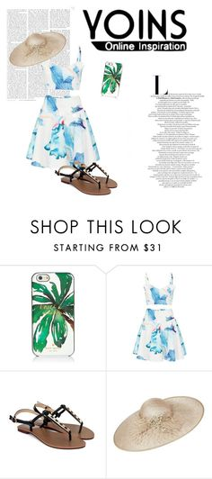 """""""Blue white wave print"""" by callistafustine on Polyvore featuring Kate Spade, Biba and yoins"""