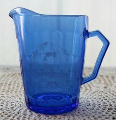 Antique Cobalt Blue Glass Shirley Temple Milk Pitcher