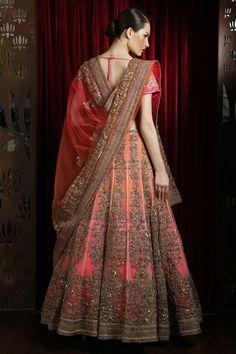 Beautiful Pink, Orange and Gold Bridal Lengha