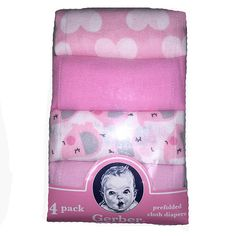 Gerber Girl Print pre-folded diaper burp cloths. This 4-count set is made of 100% cotton birdseye material for reliability and comfort.