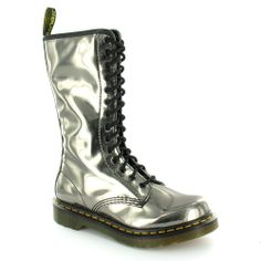 Dr Martens 1B99 Womens Koram Flash Mid-calf 14-Eyelet Zip Boots - Pewter Silver
