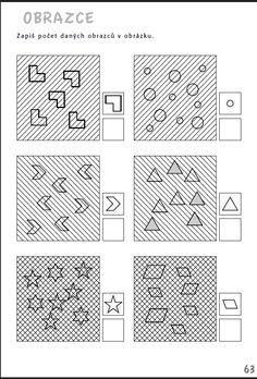 Obrazce - Zapiš počet daných obrazců - Aktivity pro nácvik matematiky, pozornosti a orientace, čtení a grafomotoriky žáků se specifickými poruchami učení v 1. až 3. ročníku ZŠ