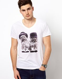 Solid T-Shirt with Owl Print