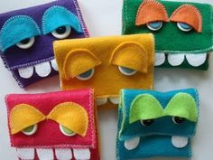 Felt monster wallets...@Melody Young, when do you think Kannon will need one of these?  They're adorable!!