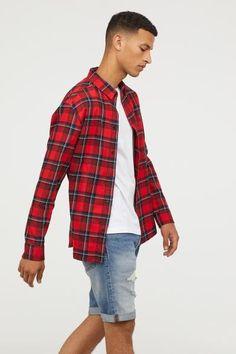 28ef2a918a Camisa en franela de algodón. Camisa Cuadros Hombre RojaCamisas HombreCuello  InglesFranelasBolsillosMangas LargasRojoHombresMagos