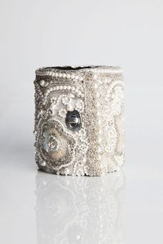 Beaded Sequin Off White Bracelet Wallet Queen Annes by CuffNGo