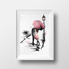 Paar mit Regenschirm, Romantik Malerei, küssen im Regen Dieser Druck ein original Aquarell-Gemälde wäre perfekt als Geschenk für einen besonderen Menschen! Modern und romantisch, würde es in jedem Raum im Haus gut aussehen.  Es ist mit einem professionellen Drucker auf hochwertiges mattes Papier gedruckt. Dieser Druck ist in vielen Größen, die in Standard gekauft Rahmen passen.  Mailing-Informationen finden Sie bitte meine Seite: https://www.etsy.com/shop/TravelBugStudio&#...
