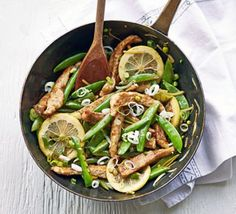Lemon chicken with sugar snap peas