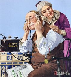 Norman Rockwell: The Wonders Of Radio, Vintage Old Art Print Norman Rockwell Prints, Norman Rockwell Paintings, Retro, Matisse, Radios, Mail Art, American Artists, Belle Photo, Vintage Art
