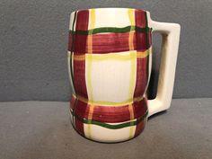 VINTAGE PURITAN SLIP WARE CIRCA 1950 NORMANDY PLAID 16 OUNCE BEER MUG in Pottery & Glass, Pottery & China, China & Dinnerware | eBay