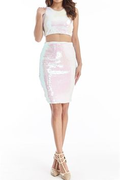 -+Sleeveless+ -+Sequin+Dress -+Mock+Two+Piece+ -+Body-con+Fit+ -+Back+Zipper+ -+Lined+ -+Fits+True+To+Size+