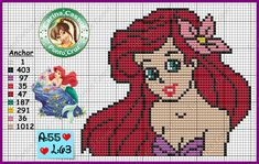 Ariel perler bead pattern by Carina Cassol - http://carinacassol.blogspot.com.br/