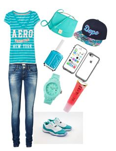 """""""Toni~Ann aqua day"""" by jahyrahbaby ❤ liked on Polyvore featuring Vero Moda, Aéropostale, Essie, Barry M and Toy Watch"""