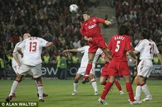 Steven Gerrard heads Liverpool back into the European Cup Final 2005. Hello.... hello, here we go!