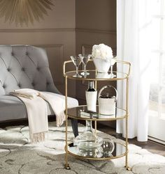 West Elm Gold or Silver Framed Mirrored Bar Cart Serving Accent Table $475 #Unbranded