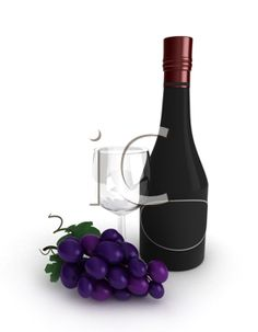 3D Illustration of a Wine Glass, a Bottle of Wine, and a Bunch of Grapes