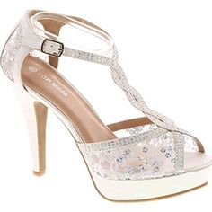 Top Moda Womens Formal Evening Party Lace Ankle T-Strap Peep Toe Stiletto High Heel Pumps,White High Heels Stilettos, Shoes Heels, Heeled Sandals, Glitter Shoes, White Glitter, Lolita Shoes, White Wedding Shoes, White Pumps, Womens High Heels