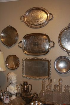 silver trays over bar? And we should use the crystal decanters- of course
