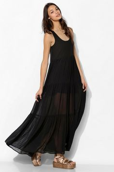 Staring At Stars Crinkle Chiffon Tiered Maxi Dress #urbanoutfitters